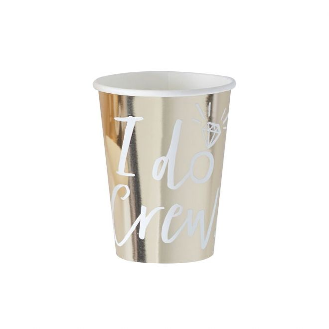 Gold I Do Crew Paper Cups